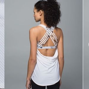 lululemon wild tank white Ghost weave white black